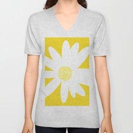 Only One White Daisy Flower Yellow Mellow Background #decor #society6 #buyart Unisex V-Neck