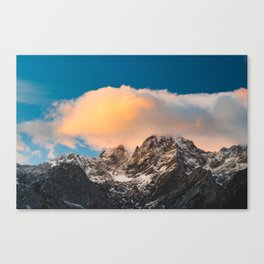 Burning clouds over the mountains Canvas Print