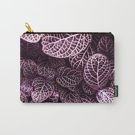 Leaves Pattern Overload in White Outline Carry-All Pouch