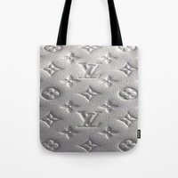 lv Tote Bags featuring Silver LV  by Luxe Glam Decor