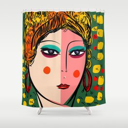 Green Portrait French Girl Art Shower Curtain