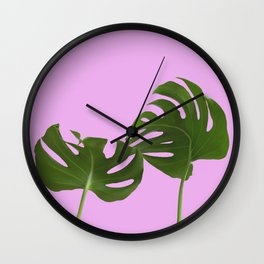 Monstera madness II Wall Clock