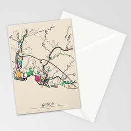 Colorful City Maps: Genoa, Italy Stationery Cards