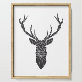 Grey Deer Head Illustration Serving Tray