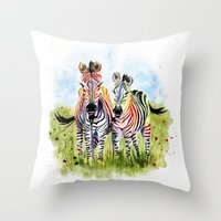 zebra Throw Pillows featuring Zebra by Anna Shell