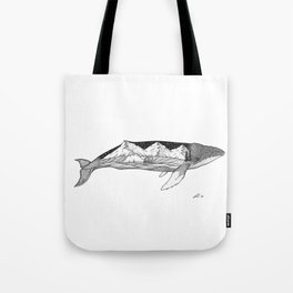 Humpback whale wave action Tote Bag