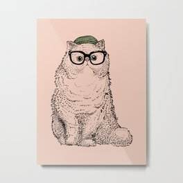 Hipster Persian Cat Metal Print