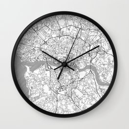 Porto Map Line Wall Clock