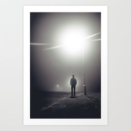 A Man In Fog Art Print