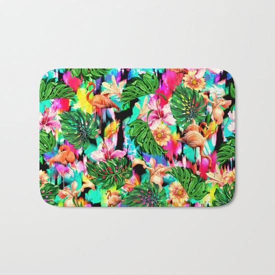 Flamingo and Tropical Pattern Bath Mat