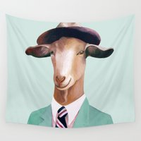 goat Wall Tapestries featuring Minty Goat by Animal Crew