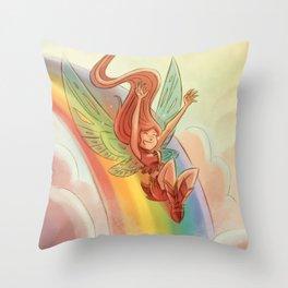 Goblins Drool, Fairies Rule! - Rainbow Swoop Throw Pillow