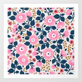 07 Floral pattern. White background. Pink flowers. Art Print