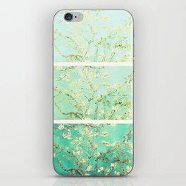 Vincent Van Gogh Almond Blossoms Panel art Aqua Green iPhone Skin