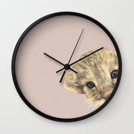 peeping lion cub Wall Clock