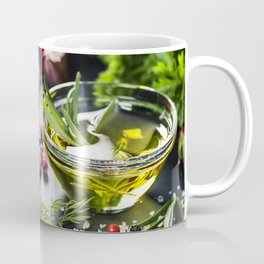 Delicious  portion of fresh salmon fillet  with aromatic herbs, spices and vegetables Coffee Mug