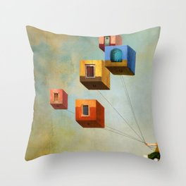 Floating Houses Throw Pillow