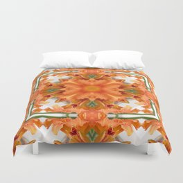 Abstract kaleidoscope of a beautiful day lily Duvet Cover