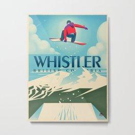 "Vintage Whistler ""Snowboard Booter"" Travel Poster Metal Print"