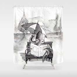 an octopus that walks on land part1 reading a newspaper in the rain Shower Curtain