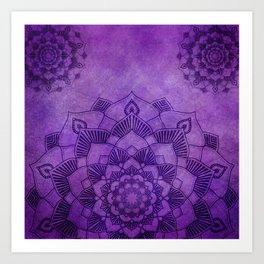 Deep Purple Lotus Mandala Art Print