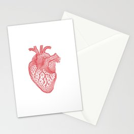 abstract red heart Stationery Cards