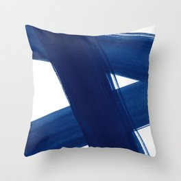Indigo Abstract Brush Strokes | No. 4 Throw Pillow