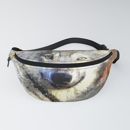 Wolf Animal Wild Nature-watercolor Illustration Fanny Pack