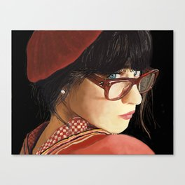 Zooey Deschanel portrait Canvas Print