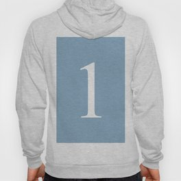 number one sign on placid blue color background Hoody