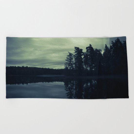 Lake by Night Beach Towel
