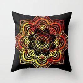 Fiery Sun Mandala Throw Pillow
