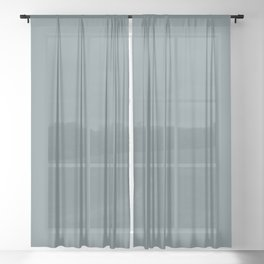 Baseball Fans ~ Dusty Blue-gray Sheer Curtain