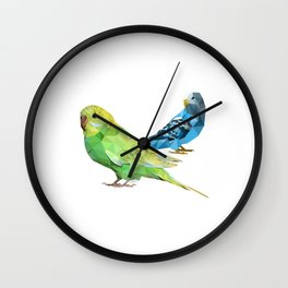 Geometric green and blue parakeets Wall Clock
