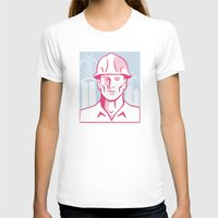 engineer T-shirts featuring Construction Engineer Worker Hardhat by retrovectors