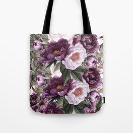 Purple Plum Pink Watercolor Peonies and Greenery Tote Bag