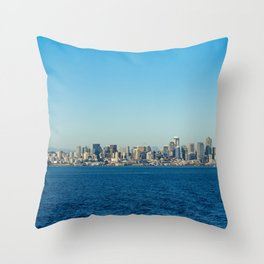 USA Photography -  Seattle Over The Blue Pacific Ocean Throw Pillow