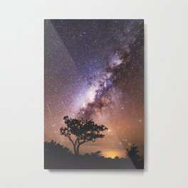 Milky Way Stars South Western Tree Metal Print