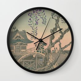 a Bridge and a House. Ukiyoe Landscape Wall Clock