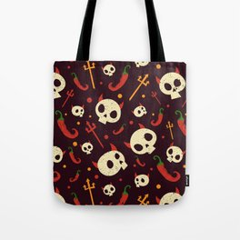 Skulls Hot Chili Peppers Hell Pattern Tote Bag