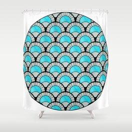 Aqua Art Deco Twenties Fan Pattern Shower Curtain