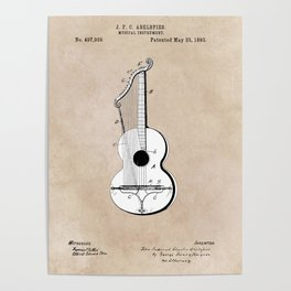 patent art Abelspies 1893 Musical Instrument Poster