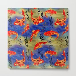 The deep water- koi fishes - watercolor Metal Print