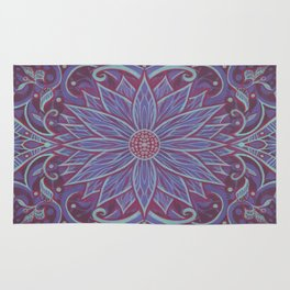 """Lavender lotus"" floral arabesque pattern Rug"