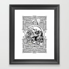 Skullflower Black and White  Framed Art Print