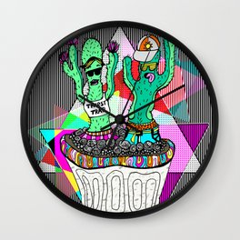 Cacti Chronicles - ThirstTrap Comic Illustration Cactus Pattern Wall Clock