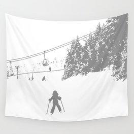 Little Skier - Grey Wall Tapestry