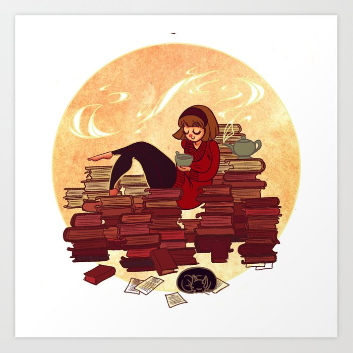 Book Lover Girl Art Print