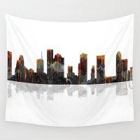 houston Wall Tapestries featuring Houston Texas Skyline BW1 by Marlene Watson