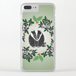 Christmas Badger Clear iPhone Case
